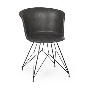 Scaun cu picioare din fier negru si tapiterie piele ecologica gri inchis Loft