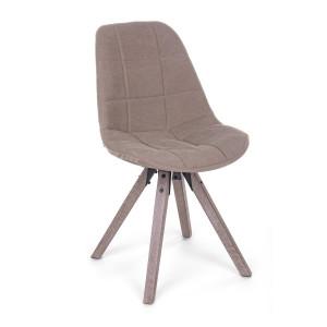 Scaun cu picioare din lemn si tapiterie textil maro Canvas