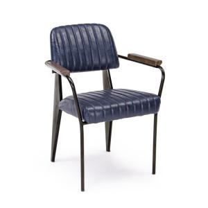 Scaun cu picioare din fier negru si tapiterie piele ecologica albastra Nelly
