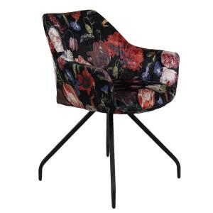Scaun cu picioare din fier negru si tapiterie textil 55 cm x 58 cm x 82 h