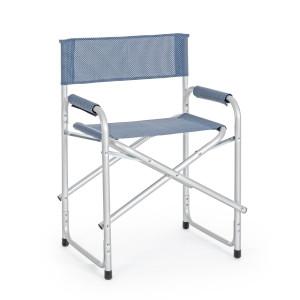 Scaun pliabil cu cadru aluminium sezut albastru Cross 49 cm x 55 cm x 82 h x 46 h1 x 60 h2
