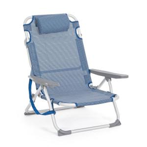 Scaun pliabil cu cadru aluminium sezut albastru Siesta 62 cm x 63 cm x 80 h x 20 h1 x 37 h2