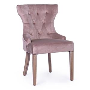 Scaun cu spatar din catifea roz Azelia 55 cm x 52 cm x 92 h x 51  h