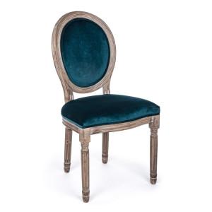 Scaun cu spatar din lemn si tapiterie catifea verde Mathilde 48 cm x 46 cm x 96 h x 48 h