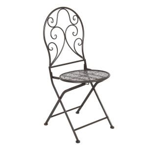 Set 2 scaune pliabile din fier forjat maro 40 cm x 40 cm x 93 h (x2)