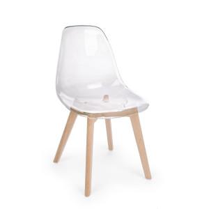 Scaun cu spatar din lemn si policarbonat natur Easy 52 cm x 47 cm x 82 h x 44 h
