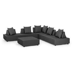 Set canapele cu tapiterie stofa gri inchis si masuta cafea Piper 90 cm x 90 cm x 32 cm