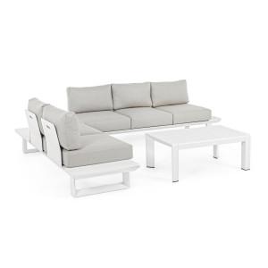 Set canapele din fier alb cu perne textil gri si masuta cafea Konnor 211 cm x 73.4 cm x 80 h x 43 h1 x 68 h3