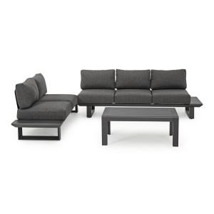 Set canapele din fier gri cu perne textil si masuta cafea Konnor 211 cm x 73.4 cm x 80 h x 43 h1 x 68 h3