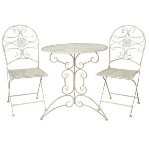Set 2 scaune pliabile si masa fier forjat alb patinat Elegance