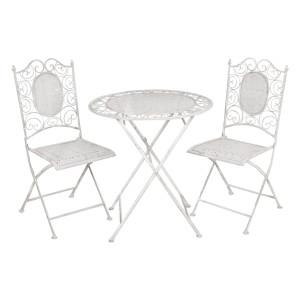 Set 2 scaune pliabile si masa fier forjat gri Garden