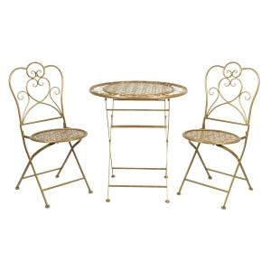 Set 2 scaune pliabile si 1 masa din fier auriu Ø 70 cm x 75 h
