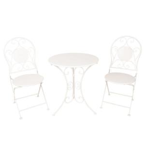 Set 2 scaune pliabile si 1 masa din fier alb Ø 60 cm x 70 h