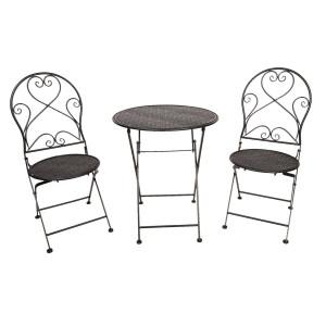 Set 2 scaune pliabile si 1 masa din fier negru Ø 60 cm x 70 h