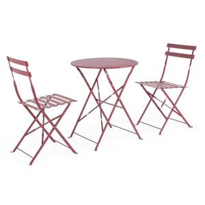 Set 2 scaune pliabile si masa fier forjat rosu Wissant