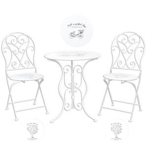 Set 2 scaune pliabile si masa fier forjat alb negru Ø 60 cm x 70 h / 40 cm x 40 cm x 92 h (x2)