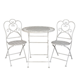 Set 2 scaune pliabile si masa fier forjat alb patinat cu gri Ø 70 cm x 75 h / 42 cm x 39 cm x 93 h (x2)