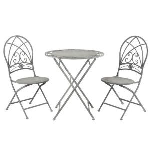 Set 2 scaune pliabile si masa fier forjat gri antichizat Ø 70 cm x 76 h / 40 cm x 40 cm x 92 h (x2)