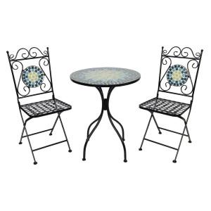 Set 2 scaune pliabile si masa fier forjat negru decorata cu mozaic albastru galben Ø 60 cm x 72 h