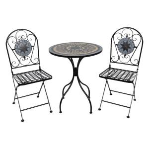 Set 2 scaune pliabile si masa fier forjat negru decorata cu mozaic Ø 60 cm x 72 h
