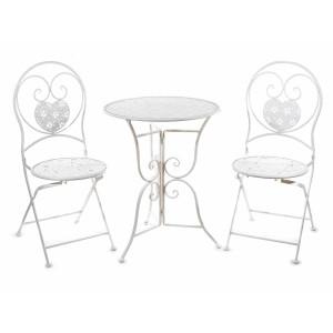 Set 2 scaune pliabile si masa fier forjat alb Cuore 41 cm  x 49 cm x 94 h
