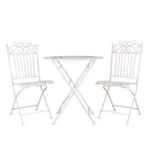 Set 2 scaune pliabile si masa fier forjat alb patinat Romantic