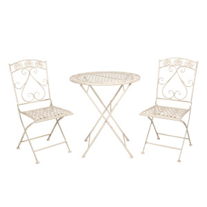 Set 2 scaune pliabile si masa fier forjat crem patinat Cuore