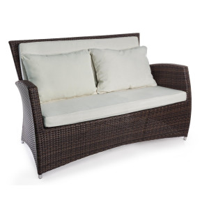 Canapea 2 locuri din rattan sintetic maro cu perne textil crem Antalys 138 cm x 78 cm x 88 h x 45 h1 x 66 h2 x 74 h3