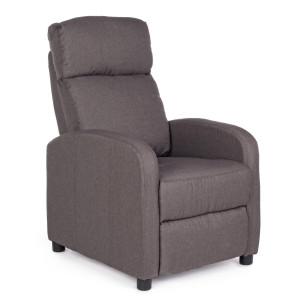 Fotoliu recliner cu tapiterie din material textil maro Elodie 67.5 cm x 90.5 /140 cm x 98 h x 45.5 h1 x 61.5 h2