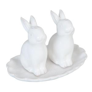 Set solinita pipernita ceramica alba Iepuras 12 cm x 9 cm x 8 cm