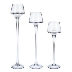 Set 3 sfesnice pentru lumanari din sticla transparenta Ellen Ø 6.5 cm x 35 h