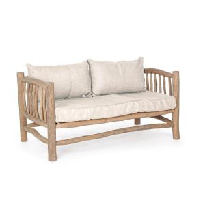 Canapea 2 locuri lemn natur perne crem Sahel 140 cm x 75 cm x 80 cm x 43 h1 x 69 h2