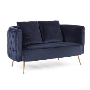 Canapea 2 locuri picioare fier auriu tapitata cu catifea albastra Tenbury 144 cm x 77 cm x 79.5 h x 42 h1 x 74 h2