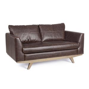 Canapea 2 locuri cu tapiterie piele ecologica maro si picioare lemn natur Johnston 155 cm x 90 cm x 82 h x 45 h1 x 65 h2 x 65 h3