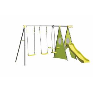 Loc de joaca copii cu 2 leagane si tobogan 312 cm x 267 cm x 195 h