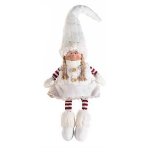 Spiridus portelan cu picioare textil rosu alb Girl cm12x50H