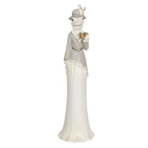 Figurina din polirasina gri Girl Frog 9 cm x 8 cm x 30 h