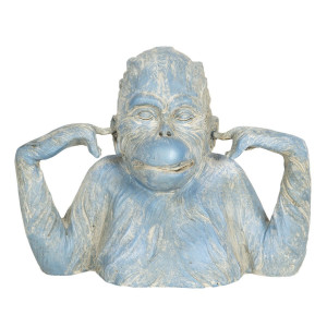 Figurina din polirasina albastra Maimuta 24 cm x 11 cm x 19 h
