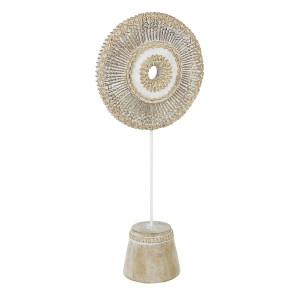 Decoratiune de masa polirasina crem cu patina aurie Yoma 23.5 cm x 12.5 cm x 55.5 h