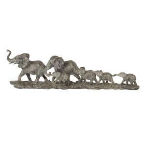 Decoratiune de masa din polirasina maro Elefanti 53 cm x 10 cm x 15 h