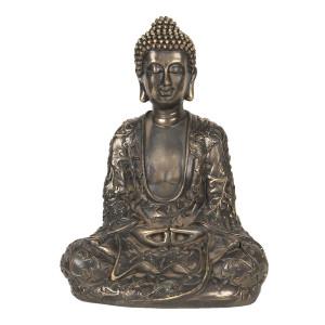 Figurina din polirasina maro cu patina aurie Buddha 14 cm x 20 cm x 27 h