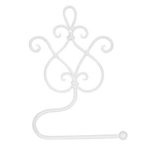Suport hartie igienica de perete fier forjat alb Baroc 17 cm x 7 cm x 22 h