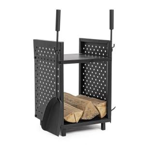 Suport pentru lemne cu 2 ustensile din fier negru Efesto 43 cm x 35 cm x 55 h