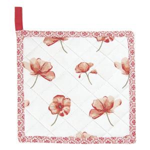 Suport pentru vase fierbinti din bumbac alb rosu 20 cm x 20 cm
