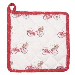 Suport pentru vase fierbinti din bumbac alb rosu Bycicle 20 cm x 20 cm