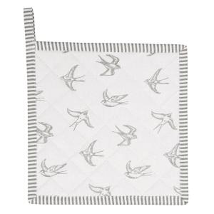 Suport pentru vase fierbinti din bumbac alb gri 20 cm x 20 cm