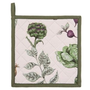 Suport pentru vase fierbinti din bumbac alb verde 20 cm x 20 cm