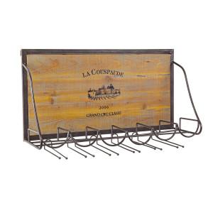 Suport sticle vin de perete din fier maro si lemn natur patinat Cru 70 cm x 20 cm x 40 h