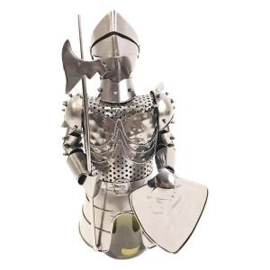 Suport sticla vin din metal argintiu 17 cm x 15 cm x 32 h