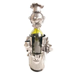 Suport sticla vin din metal argintiu 15 cm x 13 cm x 21 h